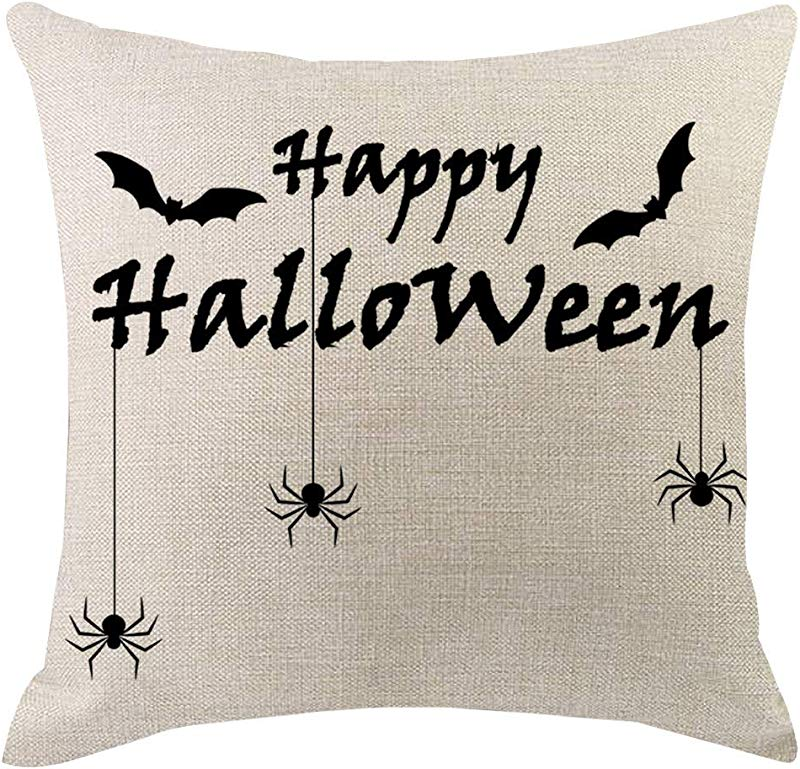 Redacel Halloween Pillow Covers Happy Halloween Cushion Cover Cotton Linen Home Decorations Little Witch Element Pillowcases M