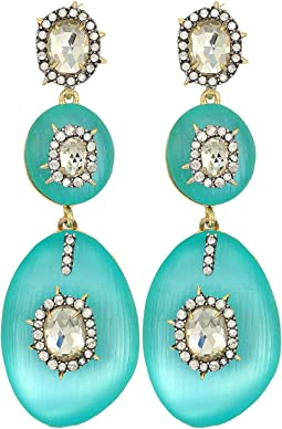 Alexis Bittar Triple Lucite Drop Post Earrings w/ Crystal Bezel Detail