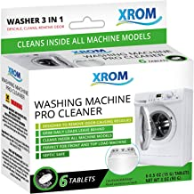 XROM High Efficiency Professional Washing Machine Cleaner Tablets 3 in 1 Formula, Washer Deep Cleaning, Remove And Dissolve Odor, Powerful Descaler For Front and Top Load Washers, 6 Tablets Count.