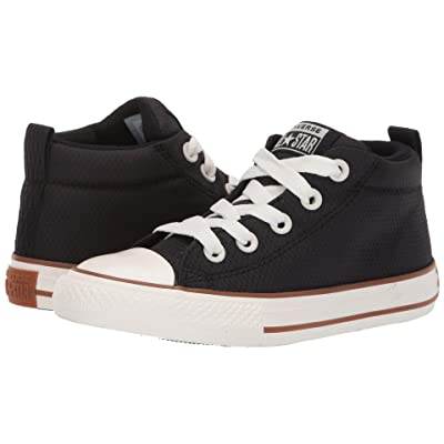 Converse Kids Chuck Taylor All Star Street Pinstripe Mid (Little Kid/Big Kid) (Black/Gum/Egret) Boys Shoes