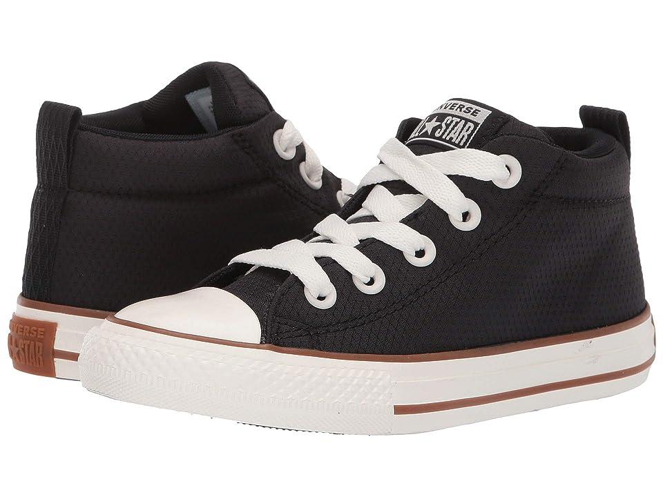 Image of Converse Kids Chuck Taylor All Star Street Pinstripe - Mid (Little Kid/Big Kid) (Black/Gum/Egret) Boys Shoes