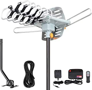 Outdoor Amplified Digital HDTV Antenna - 150 Mile Motorized 360 Degree Rotation- Support UHF/VHF 4K 1080P with Mounting Po...