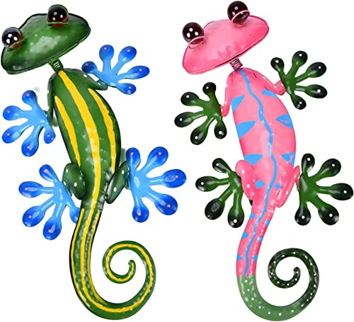 YEAHOME Metal Gecko Wall Decor - 15'' Lizard Art Wall Decorations with Shaking Head and Shining Eyeballs for Yard, Fe...