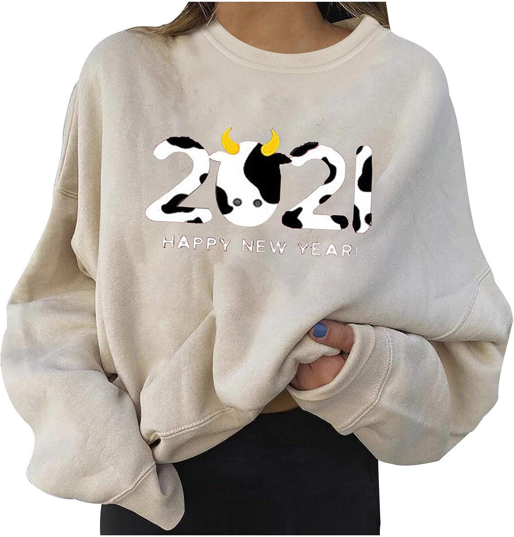 FABIURT Pullover Sweatshirts for Women,Womens Fashion 2021 Cow Printed Long Sleeve Crewneck Shirts Casual Blouses Tops