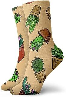 wwoman, Calcetines de vestir estampados para hombre y mujer Cactus verde Calcetines divertidos coloridos de la novedad divertida 30 cm