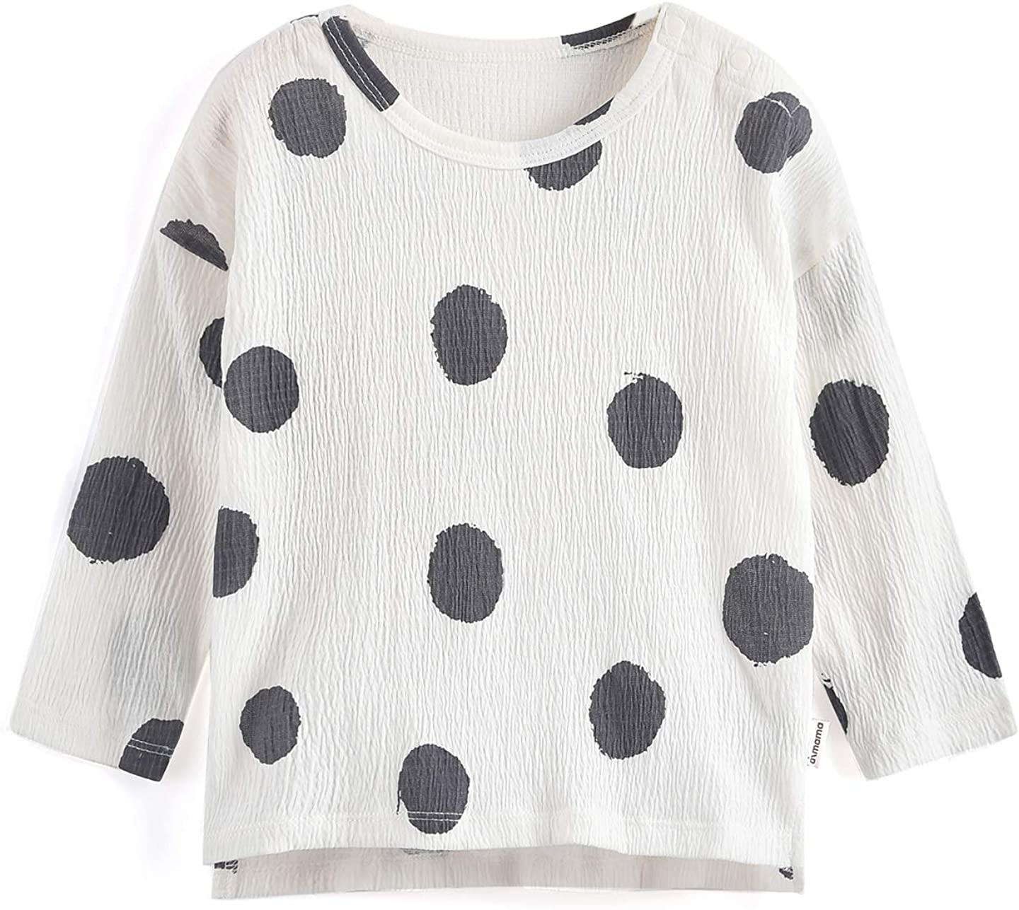 Aimama Toddler Baby T-Shirts, Long Sleeve Summer 100% Cotton Tee Dot Printed White Tops Clothes for 1-6Y Kids