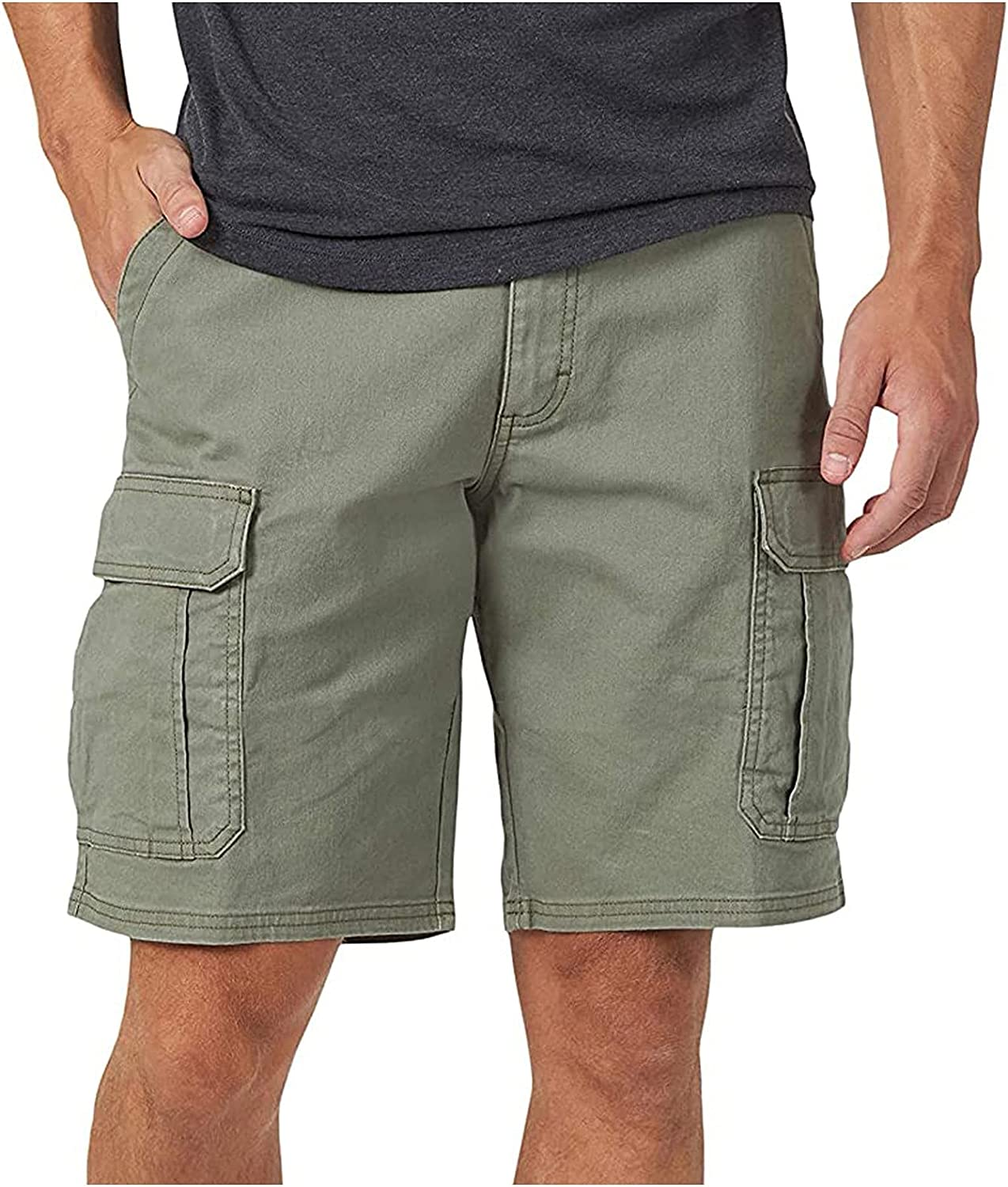 Maryia Cargo Work Pants for Men Casual Stretch Comfy Adjustable Belt Outdoor Hiking Shorts