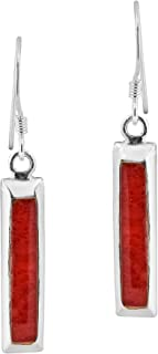 Simplicity Dangle Bar Reconstructed Red Coral .925 Sterling Silver Dangle Earrings