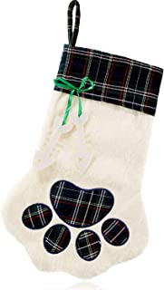 2 Pieces Christmas Stockings Pet Paw Pattern Stockings Fireplace Hanging Stockings for Pet and Christmas Decoration (Green, 1 Piece)