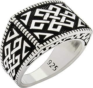 خاتم رجالي تركي فاخر من الفضة الإسترلينية عيار 925 المميز بتصميم مميز أناتولي