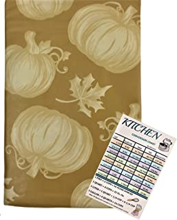 Fall Pumpkins Vinyl Tablecloth Flannel Backed Seasonal Autumn Harvest Tonal Pumpkins and Falling Leaves Indoor Outdoor wit...