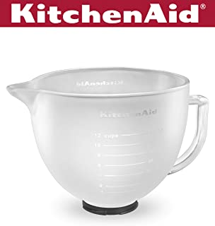 KitchenAid K5GBF Tilt-Head Frosted Glass Bowl with Measurement Markings and Lid, 5-Quart