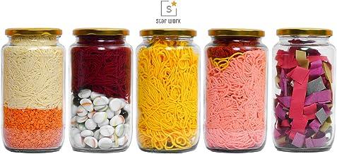 STAR WORK 1000 Gram Glass Jar with Air Tight Gold Lid for Kitchen Dried Masla Storage Jar,Honey Jar,Jar and Container,Spice Masala Jar,Glass,Visible Glass Jar for Kitchen Storage Set of (5)