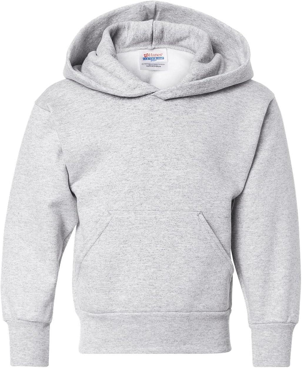 Hanes Big Boy's Hooded Pullover Sweatshirt, Ash, Large