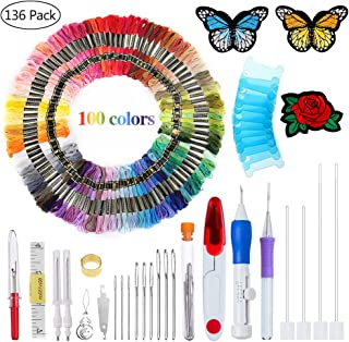 New Magic Embroidery Pen Punch Needle Embroidery Patterns Punch Needle Kit Craft Tool Embroidery Pen Set, Threads for Sewing Knitting DIY Threaders