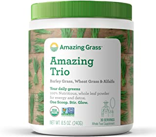 Amazing Grass Greens Trio: Greens Powder with Wheatgrass, Alfalfa, & Barley Grass, Rich Source of Chlorophyll, 30 Servings