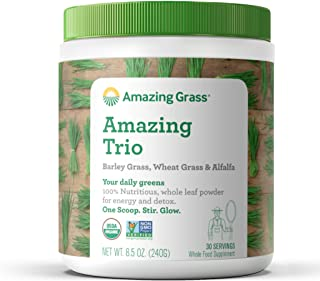 Amazing Grass Amazing Trio: Organic Greens Powder with Wheatgrass, Barley Grass and Alfalfa, 2 Servings of Greens per Scoop, 30 Servings