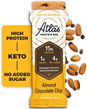 Atlas Bar - Keto Protein Bars, Almond Chocolate Chip - High Protein, Low Sugar, Low Carb, Grass Fed Whey, Healthy Protein,...