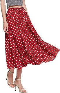 Amormio 👗 Women's Cute Polka Dot Printed Chiffon A-Line Swing Boho Long Maxi Pleated Skirts