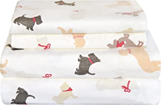 Pointehaven Heavy Weight Flannel Sheet Set, Queen, Winter Dogs