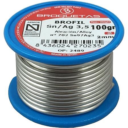 Brofil A03MAC-01200-1A102 Sn AG 3,5 AENOR 100g Bobine de Fil étain argenté
