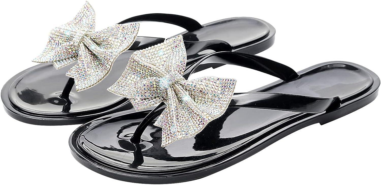 Women's Bow Jelly Sandals Women Rhinestone Slides Flip Flops Thong Sandal Flat Sandals Clip Toe Jelly Sandals White Sandals