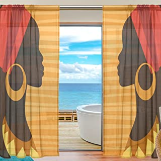 ALAZA Voile Sheer Window Curtain Silhouette African Girl with Earrings Door Way Tulle Curtain Drapes Panels for Living Room Bedroom Kitchen 55x78 inch, Set of 2