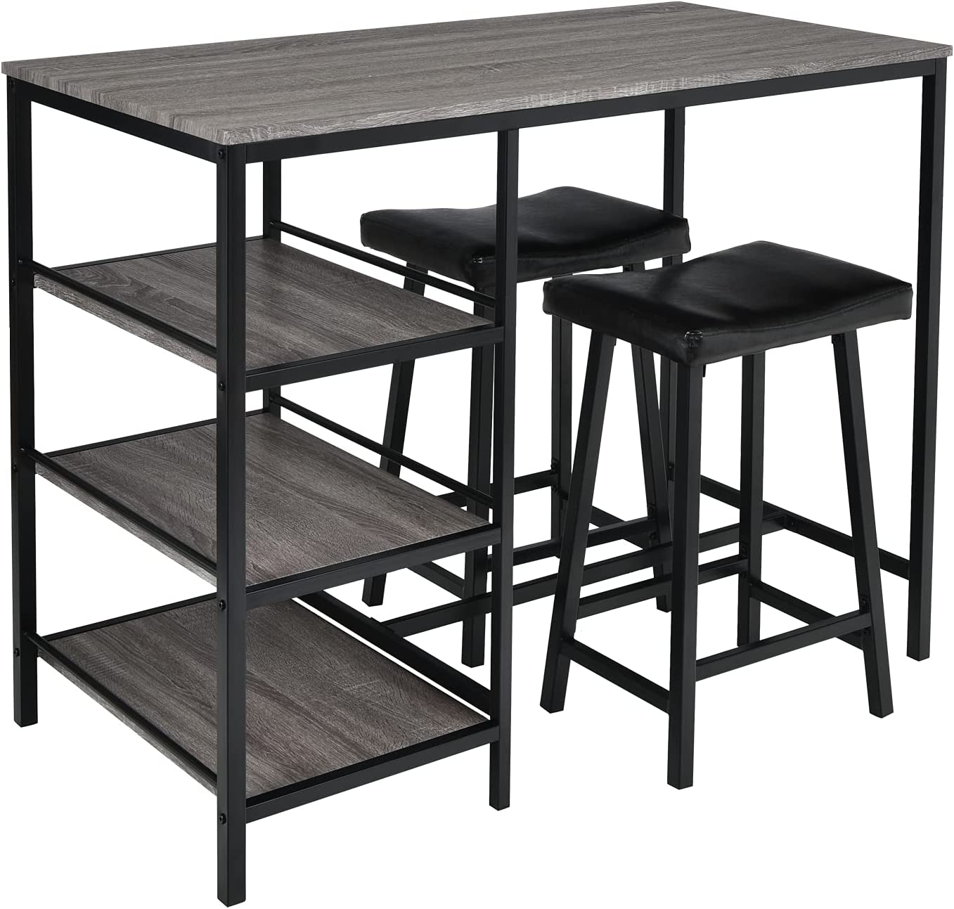 GLACER 3-Piece Dining Set Counter Max 65% OFF Height Regular dealer 2 Cu Table with
