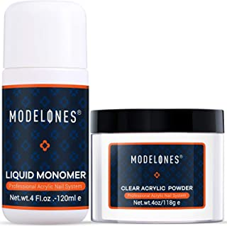 Modelones Acrylic Powder Clear Acrylic Powder Kit 4 oz + Professional Liquid Monomer 4 oz Nail System For Nail Extension acrylic powder and liquid set No Need Nial Lamp