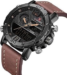 Reloj de pulsera para hombre, impermeable, digital, deportivo, de piel, de cuarzo