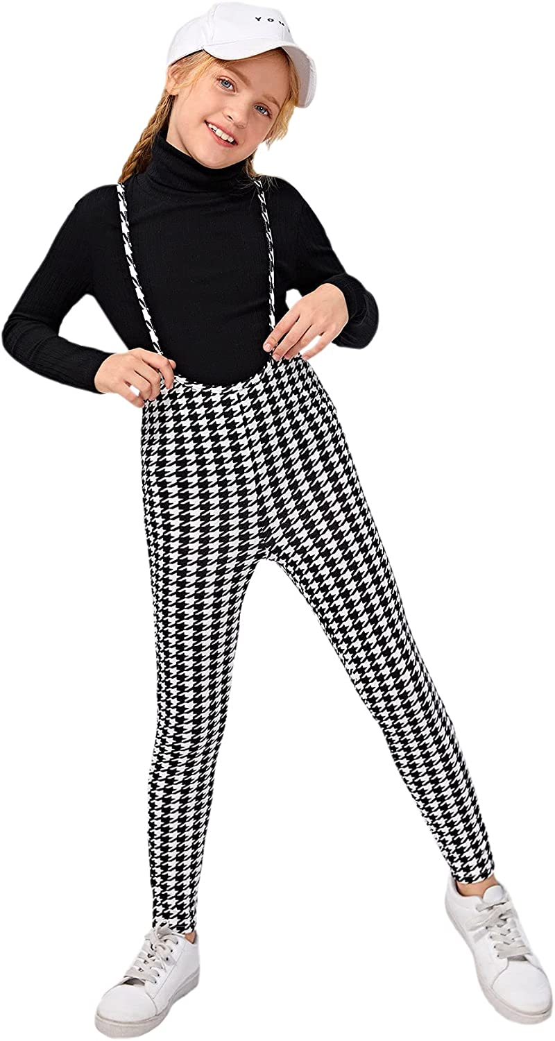 Milumia Brand new Girl's High safety Waisted Skinny Pants Houndstooth Suspender P