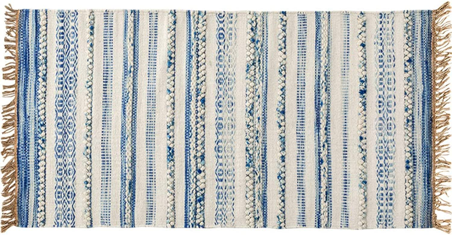Doormat, Cotton Rugs Home Decor Carpet-bluee A 50x80cm(20x31inch)