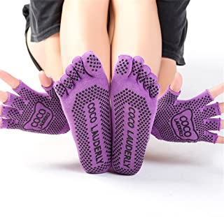 Set Ladies Gloves Anti-Skid Sports Five Fingers Pure Cotton Four Seasons Yoga Socks,Fully Breathable