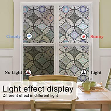 DKTIE Static Cling Decorative Window Film Vinyl Non Adhesive Privacy Film,Stained Glass Window Film for Bathroom Shower Door