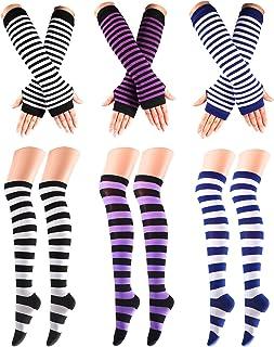 Geebuzz 6 Pcs Striped Socks Knee High and Long Knit Arm Warmer Fingerless Gloves for Women Ladies Girls