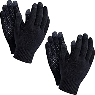 TSLA (Pack of 1, 2) Men and Women Touch Screen Winter Gloves, Texting Anti-Slip Thermal Knit Gloves, Cold Weather Running ...