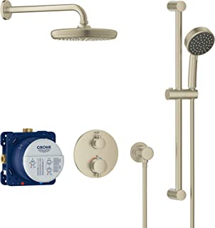 GROHE 34745EN0 Grohtherm Cube Shower Set with Tempesta 210, Brushed Nickel InfinityFinish