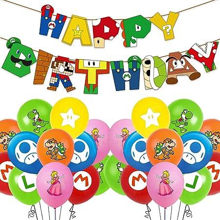 Juego de Globos de Cumpleaños de Mario, Decoración de Cumpleaños de Mario, Pancarta de Feliz Cumpleaños Compacta, Decoración de Globos Para La Fiesta de Cumpleaños de Los Niños de Pokémon