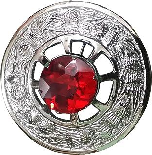 "Kilt Fly Plaid Brooch Thistle Design Chrome Finish with Stone 3"" diameter"