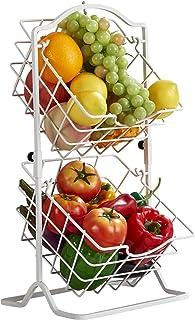 Wdmiya Corbeille à Fruits 2 Étages Panier de Fruits/Légumes Suspendu en Métal Chromé Supports à Légumes pour Rangement et ...