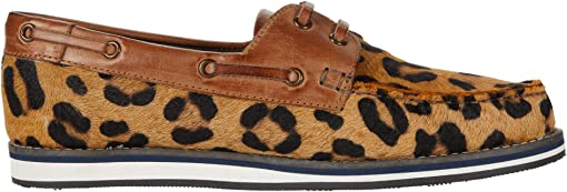 Tan Leopard Hair on Hide/Burnished Tan Leather Accents
