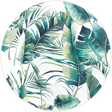 Round Area Rug Leaf Pattern Rug Non-Slip Backing for Living Room Bedroom Study Children Playroom Art Home Decor 5.2'