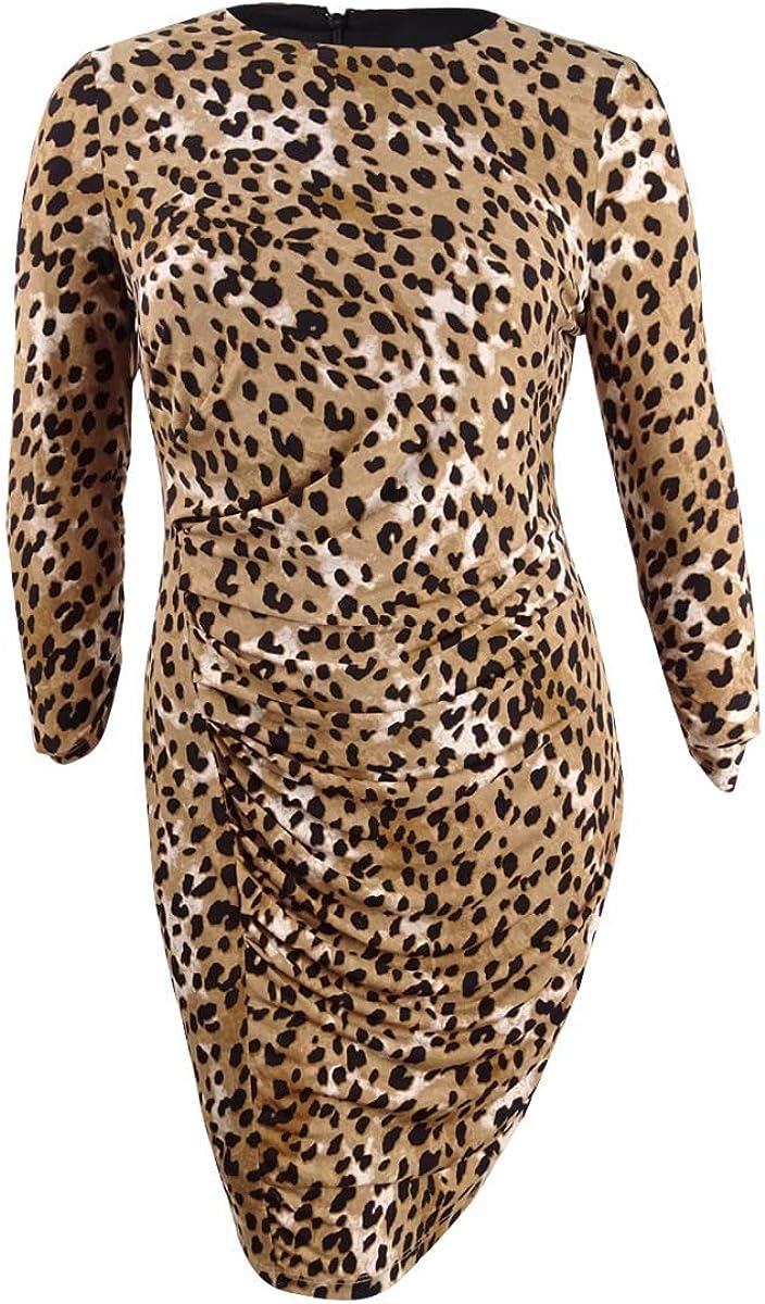 DKNY Women's Dress Ruche Sheath Animal Print Longsleeve Brown 14