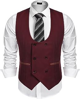 JINIDU Men's Slim Fit Sleeveless Suit Vest Double Breasted Business Dress Waistcoat