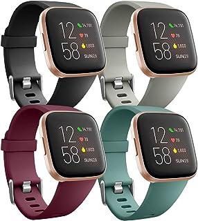 Ouwegaga Pack 4 Siliconen Bandje Compatibel met Fitbit Versa Bandje/Fitbit Versa 2 Bandje, Rervangende Sport Pols Bandje v...