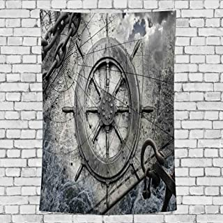 "GULTMEE Home Decor Tapestry,Retro Navigation Equipment Illustration with Steering Wheel Charts Anchor Chains,Wall Hanging for Bedroom Living Room Dorm 51"" X 60"""
