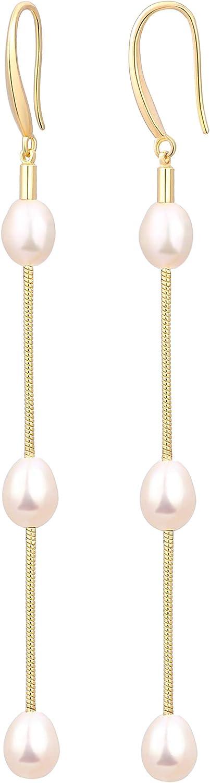 18K Gold Long Baroque Pearl Earrings Evil Eye Tassel Drop Dangle Earrings for Women Statement Snake Chain Dainty Adjustable Stud Jewelry for Wedding