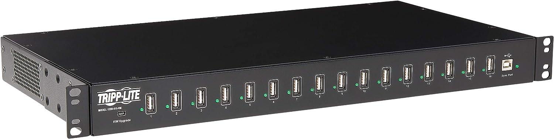 TRIPP LITE 16-Port USB Sync Charging Hub Station Tablet Smartphone iPad/iPhone Rackmount TAA (U280-016-RM), Black