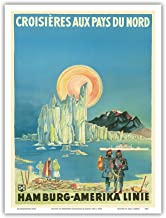 Cruises to Northern Countries - North Pole and the Arctic - Hamburg-American Line HAPAG - Vintage Ocean Liner Travel Poster by Albert Füss c.1936 - Master Art Print - 9in x 12in
