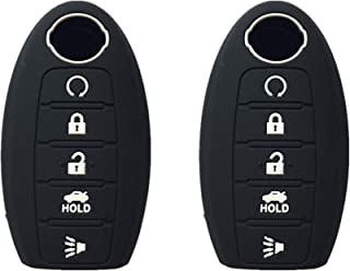 KAWIHEN 2pcs Silicone Smart Remote Key Fob Cover Protector For Nissan 5 button(black)